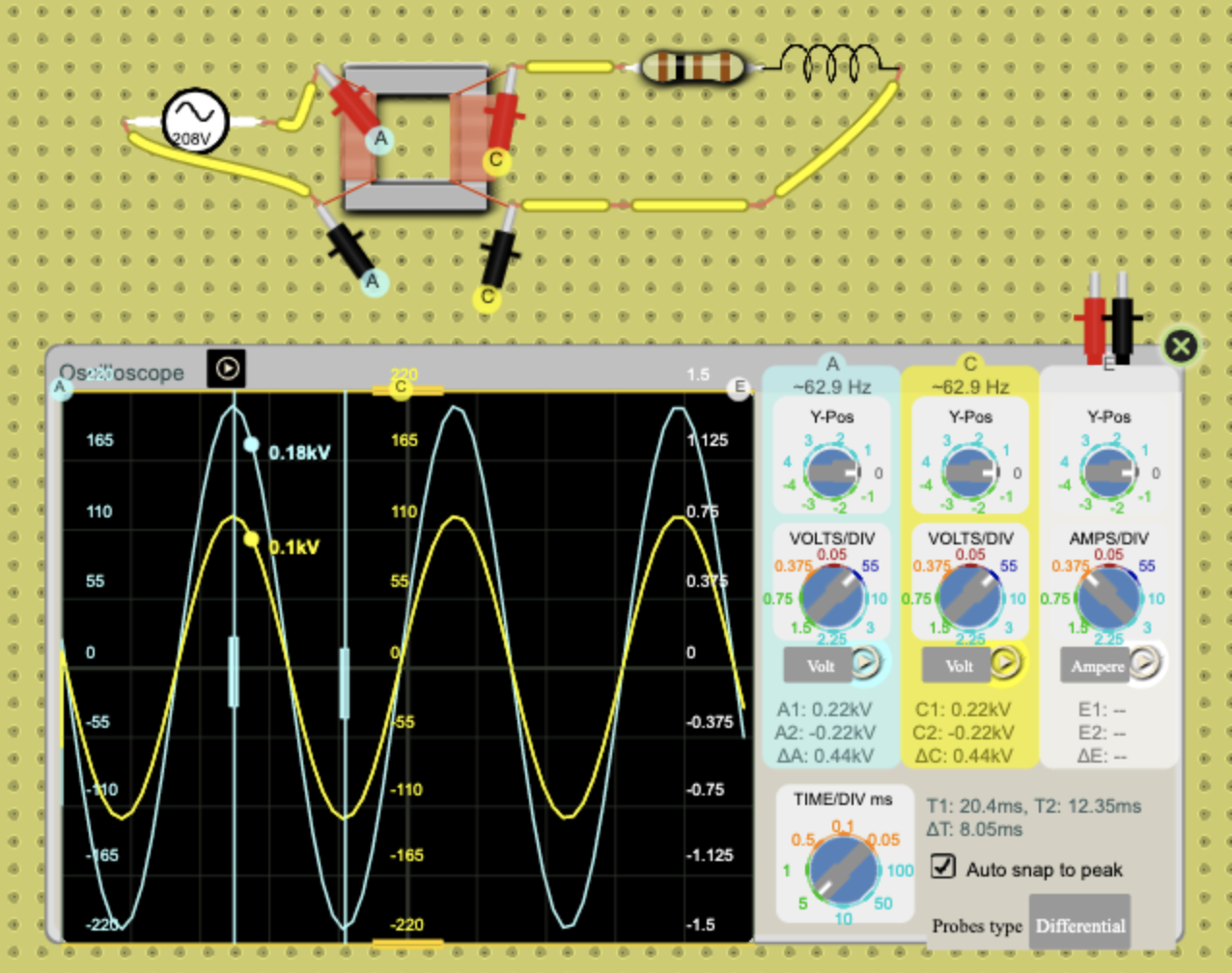 Oscilloscope, measure time delta between two peaks